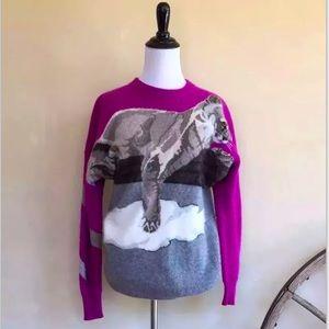 KRIZIA MAGLIA Vtg Rare Snow Leopard Lion Sweater